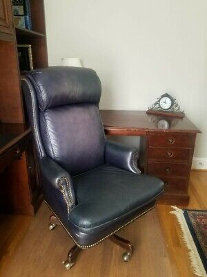 Hancock & Moore dark blue leather Swivel-Tilt executive's desk chair
