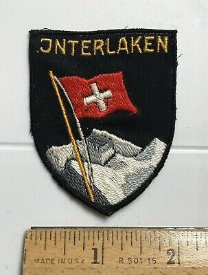 Interlaken Bern Switzerland Waving Swiss Flag Mountain Top Souvenir Patch Badge