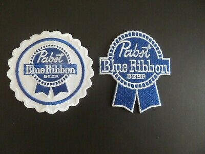 """LOT OF 2- PABST BLUE RIBBON"""" BEER  white & blue  Embroidered Iron On  Patch"""