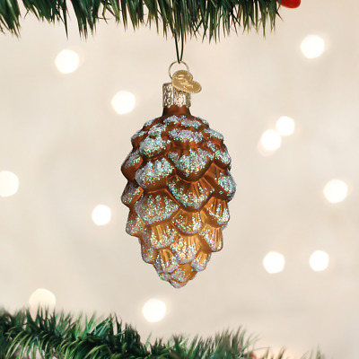 Old World Christmas Woodland Cone Pine Cone Glass Christmas Ornament 48030