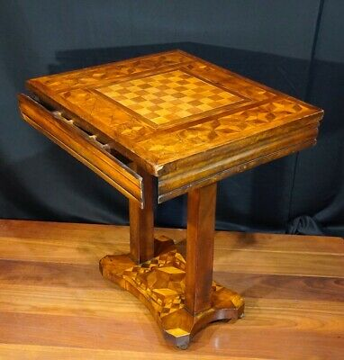 Australian primitive chess table, huon pine etc. specimen woods, c. 1900