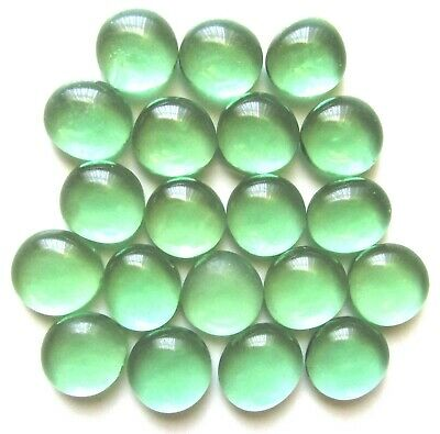 20 x Translucent Mint Green Mosaic Craft Pebbles Gaming Nugget Art Glass Stones