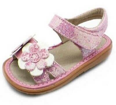 SALE Toddler Leather White Ruffle Sparkle Sandal LUCY Squeaker Squeaky Shoe NIB