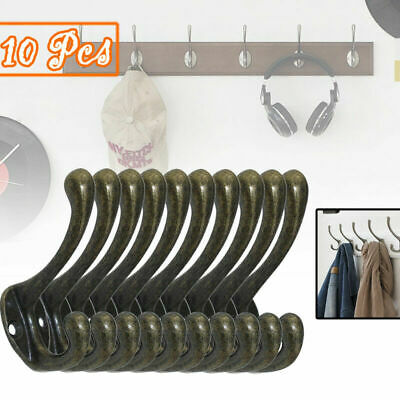 10 x CAST ALLOY OLD STYLE INDUSTRIAL VINTAGE RUSTIC IRON COAT HOOKS GB