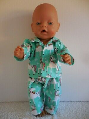 "Baby Born 17""  Dolls Clothes Green Unicorn  Flannelette Pj's"