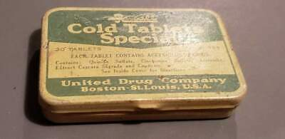 Rexall Cold Tablets Special Tin Box United Drug Company Vintage Advertising