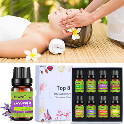 KIUNO 8Pcs 10ml Essential Oils Set Pure Natural Aromatherapy Fragrances Burner