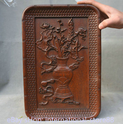 "14.4"" Rare Old China Dynasty Huanghuali Wood Hand Carved Flower Vase Plate Tray"