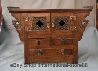 """16.4"""" Old Chinese China Huanghuali Wood Carving 3 Drawer Cabinet Censer Table"""