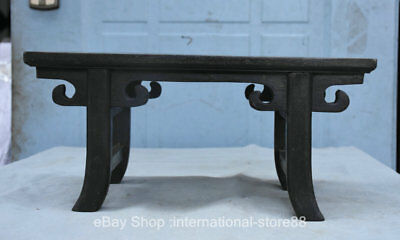"14.4"" Old China Ebony Carving Dynasty Palace 4 Foot Table Desk Censer Table"