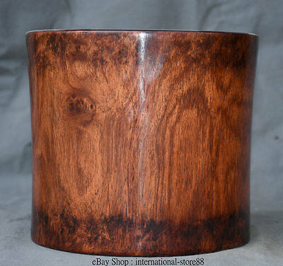 """10"""" Chinese Huanghuali Wood Dynasty Palace Office Round Brush Pot Pencil Vase"""