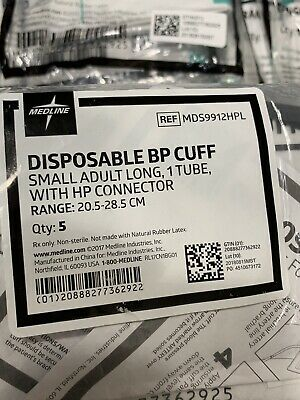 Medline Disposable Adult BP Cuffs  Lot of 60 MDS9912HPL Size Small