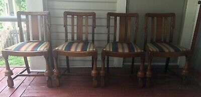 Set of 4 English Antique Solid Oak Wood Pub Chairs