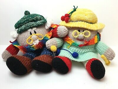 Humpty Dumpty Grandma& Grandpa Knitted Homemade Toy Set Of Two