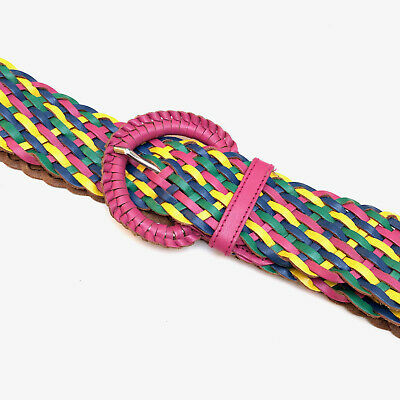 Vintage 1980s colourful, woven leather belt