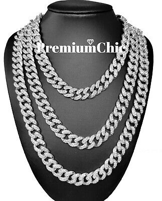 Miami Cuban Choker Chain Necklace Gold Silver IP Fully ICED 16''-30'' Hip Hop