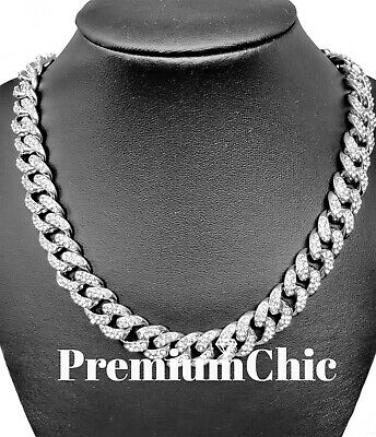 Miami Cuban Choker Chain Necklace Fully ICED 16''-30'' Hip Hop Mens Quavo Silver