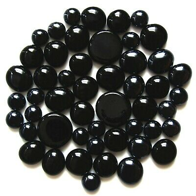 50 x Shades of Jet & Metallic Black Mosaic Glass Pebble Stones - Assorted Sizes