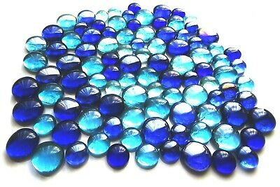 100 x Shades of Blue Mosaic Art Glass Pebble Nuggets Gem Stones - Assorted Sizes