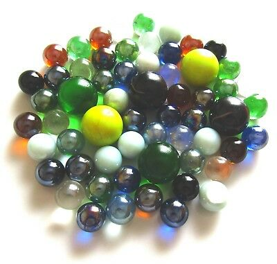 60 x Mosaic Lead Light Art Glass Spheres Balls Marbles Assorted Sizes & Colours