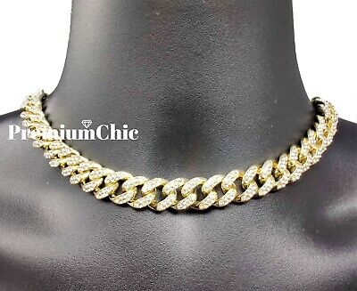 """Iced 16"""" or 18"""" Miami Cuban Choker Necklace Hip Hop Mens Quavo Gold Plated Chain"""