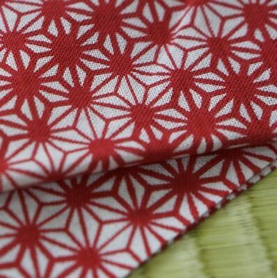 "Tenugui Japanese Traditional Cotton Cloth 35x90cm (13"" x 35"").. -Asanoha red"