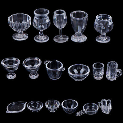 17Pcs/Set 1:12 Dollhouse Miniature Transparent Tableware DIY Pretend Play TEB