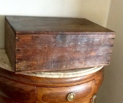 Antique Rustic Old Wooden Toolbox Charming Display Item For Country Kitchen