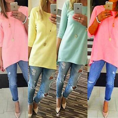 Ladies Long Sleeve T-Shirt Women Round Neck Plain Basic Top Plus  UK