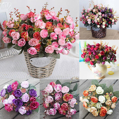 21 Head Flower Artificial Silk Rose Flowers Floral Fake Grave Bouquet PartyDecor