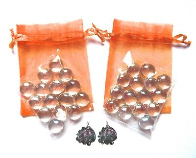 Set of 2 Orange Organza Bags + Clear Glass Wishing Stones + Sunshine Charms