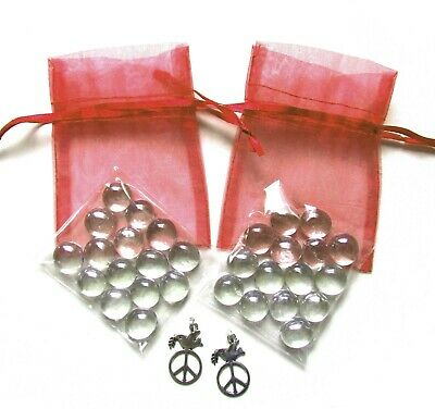 Set of 2 Shiraz Organza Bags + Clear Glass Wishing Stones + Peace Dove Charms