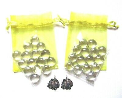 Set of 2 Yellow Organza Bags + Clear Glass Wishing Stones + Sunshine Charms