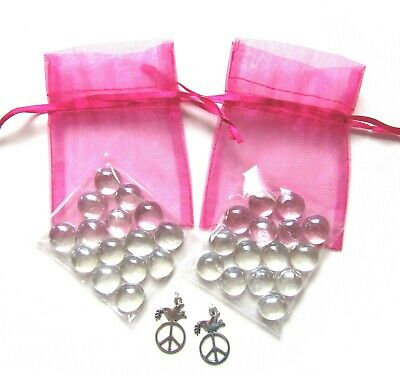 Set of 2 Pink Organza Bags + Clear Glass Wishing Stones + Peace Dove Charms