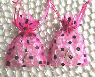 Clear Shimmer Glass Friendship Stones + Mermaid Charms +Polka Dot Organza Bags