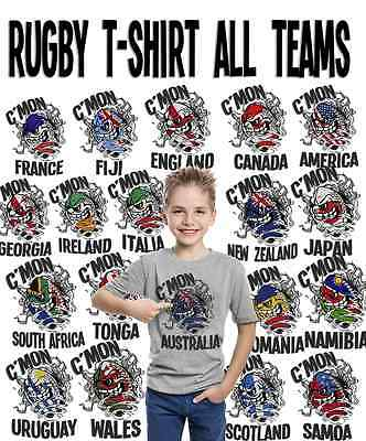 Rugby Madball Kids Boys Girls T-Shirt Choose Country Perfect Tri 6 Six Nations