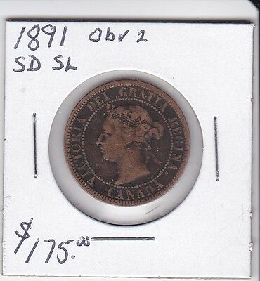 1891 sd sl obv2 Canada 1 cent Coin large cent