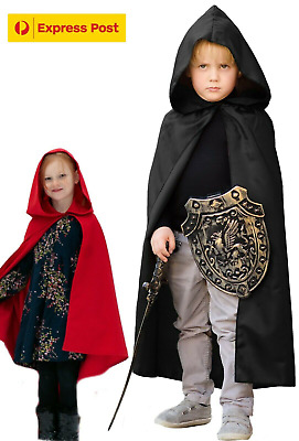NEW Kids Black / Red Cloak Hooded Robe Cape Red Riding Hood Express Shipping