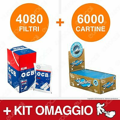 4080 Filtri OCB Slim 6mm 6000 Cartine Smoking Blu Corte Box Libretti Tipo B Kit