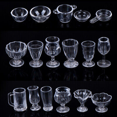 17Pcs/Set 1:12 Dollhouse Miniature Transparent Tableware DIY Kitchenware TEB