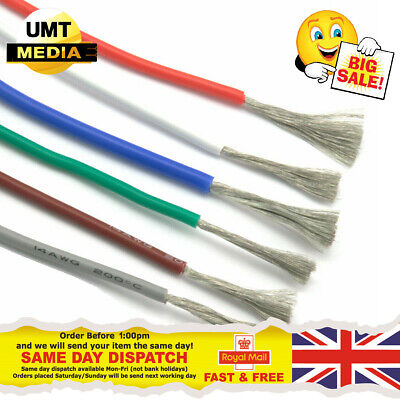 Flexible Silicone Cable Wire 1 METRE 8/10/12/14/16/18/20/22/24/28/30 AWG