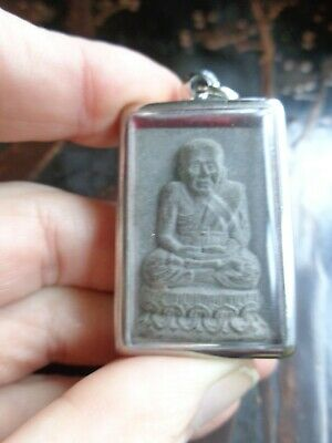 Thai Cased Throned Buddha  L.p. Tuad Amulet  Charm Pendant