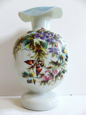 SUPERB FRENCH HANDPAINTED OPALINE GLASS BACCARAT VASE FLOWERS & BUTTERFLY 1880's