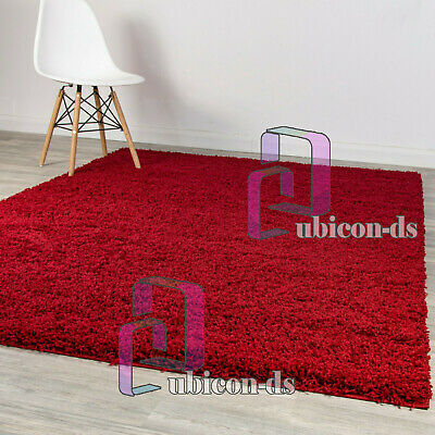 5cm HIGH PILE WINE RED THICK PLAIN SOFT SHAGGY RUG NON SHED PILE CARPET RUGS