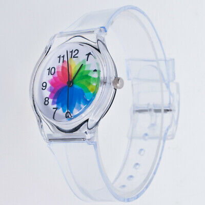Transparent Kinder Damen Bunt Ziffernblatt Jelly Quarz Analog Armbanduhr Menge