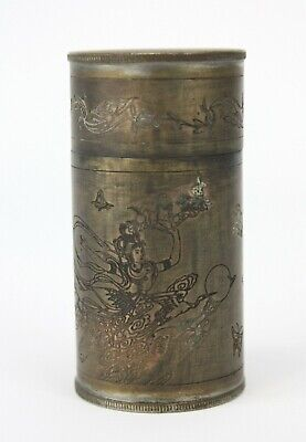 "Antique Chinese Copper Alloy Toothpick Trinket Box 3"" - 77mm high China Original"