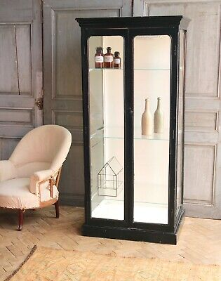 Vintage Antique Ebony Mahogany Glass Medical Cabinet Haberdashery