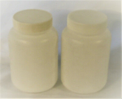 Set of 2 plastic storage bottle 500 ml 16 oz wide mouth white New