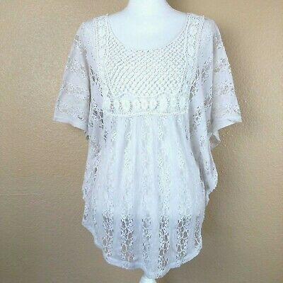 Shyanne Women's Lace Tunic Dolman Sleeve Flowy Open Back Sz Small