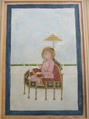 ANTIQUE INDIAN MINIATURE PAINTING STUDY OF MUGHAL EMPEROR AKBAR ENTHRONED c1850